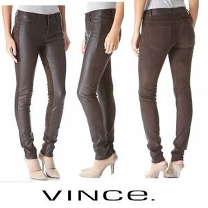 NWOT VINCE Suede & Leather Stretch Skinny Jeans